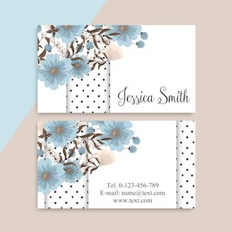 Blumen visitenkarten hellblau