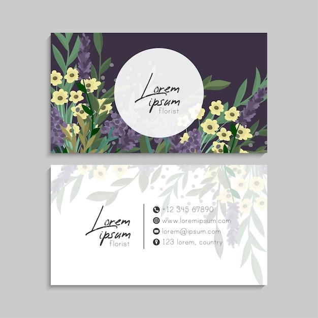 Blumen-visitenkarten-set.
