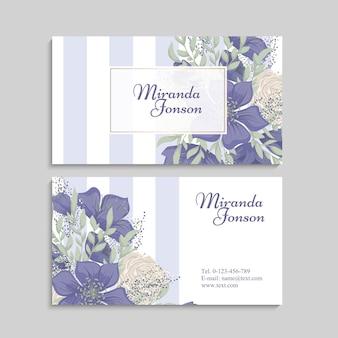 Blumen visitenkarten vorlage Premium Vektoren