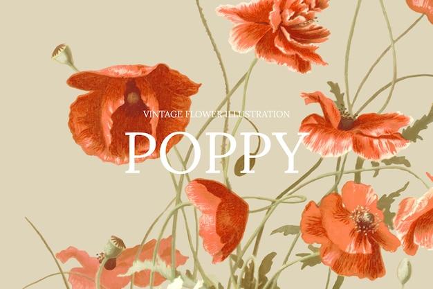 Blumen-web-banner-vorlage mit mohnblumen-hintergrund, neu gemischt aus gemeinfreien kunstwerken