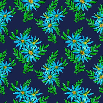 Blumen wiederholen muster auf dunklem hintergrund