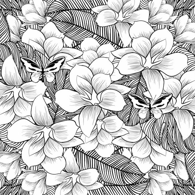 Blumen zeichnen mit strichzeichnungen auf weißem hintergrund