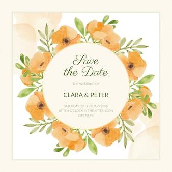 Blumenabwehr der aquarellmohnblume die datumsschablone