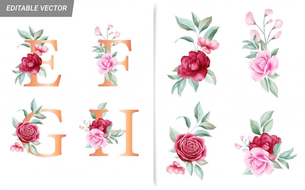 Blumenalphabet eingestellt mit aquarellblumenelementen