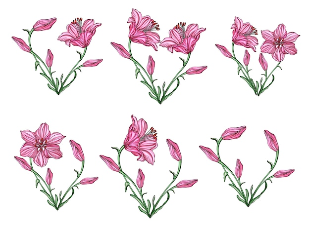 Blumenanordnung für herzform mit blumenlilien