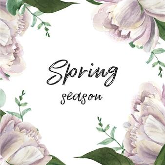 Blumenaquarell der blühenden blume der weißen pfingstrose botanische aquarellhochzeitskarten