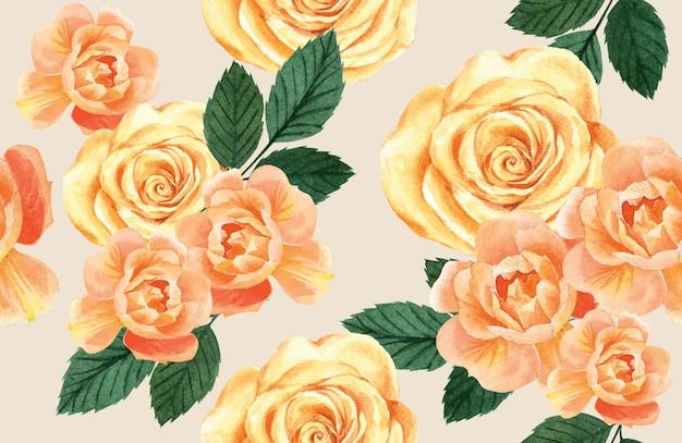 Blumenaquarell des botanischen musters, dankeskarte, textildruckillustration