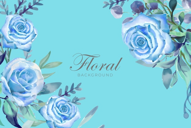 Blumenaquarell-hintergrund-blau-thema
