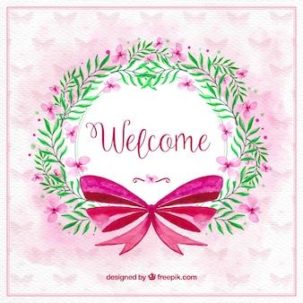 Blumenaquarell-kranz mit rosa schleife