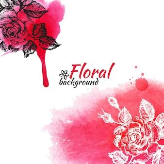 Blumenaquarellhintergrund. handgezeichnete rosenillustrationen