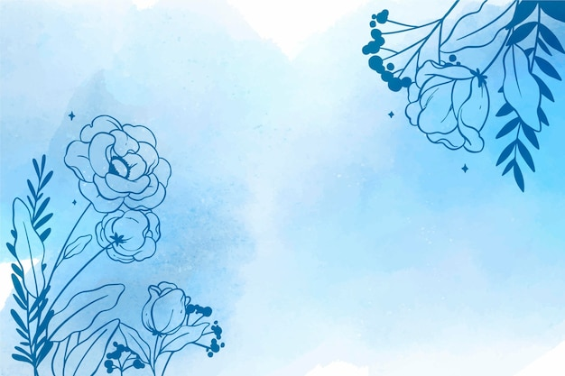 Blumenaquarellhintergrund mit hand gezeichneten elementen