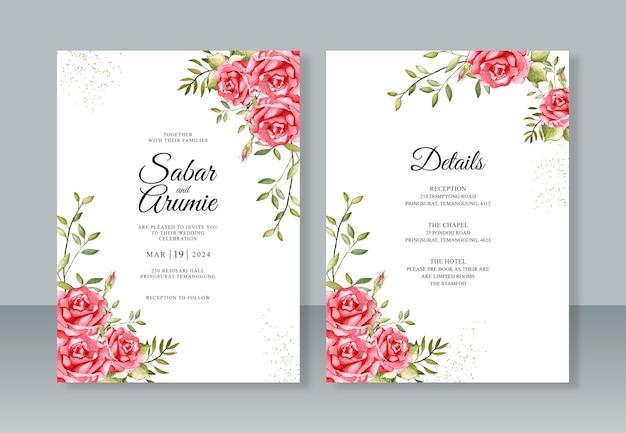 Blumenaquarellmalerei für schöne hochzeitseinladungsschablone
