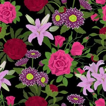 Blumenaquarellvektorblumenstraußkarteneinladungssatzgrußpostkarte mit blühendem blumenstrauß der rosenliliengerbera-pfingstrosenweinleseillustration laden nahtlosen musterraum ein