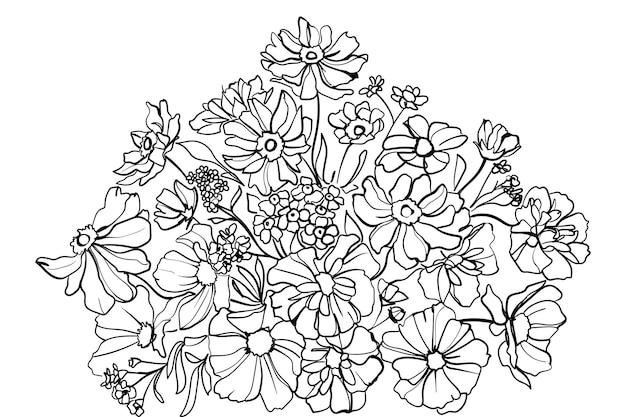 Blumenarrangement aus blühenden blumen zum dekorieren von grußkarten. strichzeichnungen. - vektor-illustration