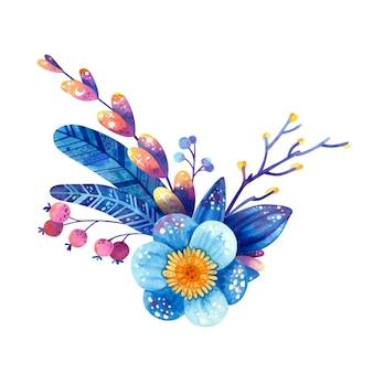 Blumenarrangement in blauen und violetten farben