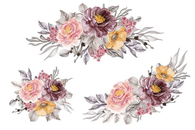 Blumenarrangement und blumenstrauß von lila purpurrosa für hochzeit