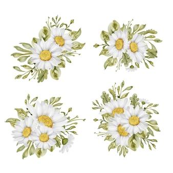Blumenarrangement und strauß des weißen gänseblümchens