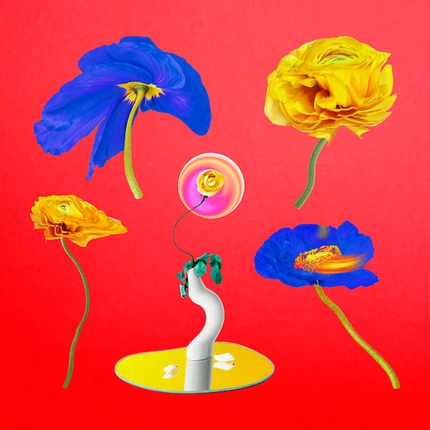Blumenaufkleber vektor psychedelischer bunter abstrakter kunstsatz