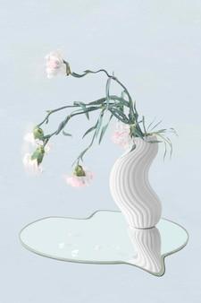 Blumenaufklebervektor, weiße nelke in der abstrakten kunst der vase