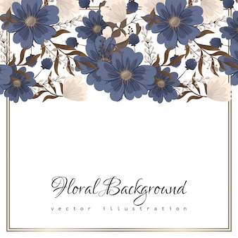 Blumenauslegungrand - blaue blumen