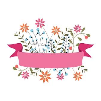 Blumenband-fahne mit schöner blumen-dekoration