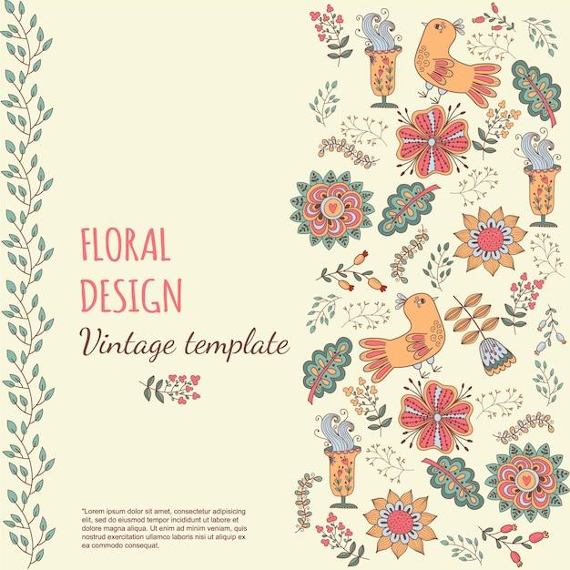 Blumenbanner im vintage-stil helle retro-verzierung