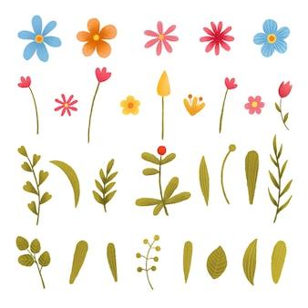 Blumenbetriebssatz sammlung mit blättern frühling oder sommerdesign für einladungs-, hochzeits- oder grußkarten.