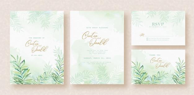Blumenblätter aquarellhintergrund auf hochzeitskarte