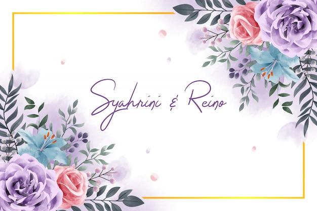 Blumenblätter des eleganten lila dekorationsaquarells für einladungsentwurf