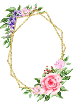 Blumenboho rahmen des geometrischen goldaquarells