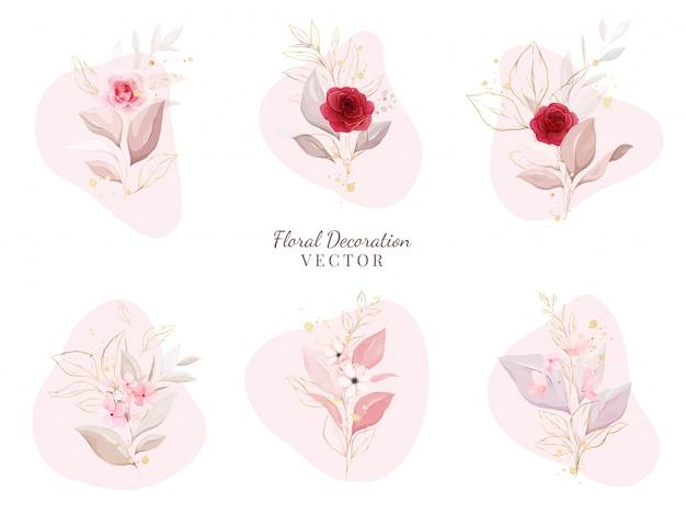 Blumendekoration gesetzt. botanische anordnung illustration von roten und pfirsichrosen mit blättern, zweig.