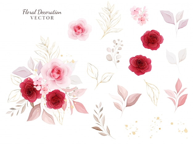 Blumendekoration gesetzt. botanische illustration von roten und pfirsichrosen mit blättern, zweig.