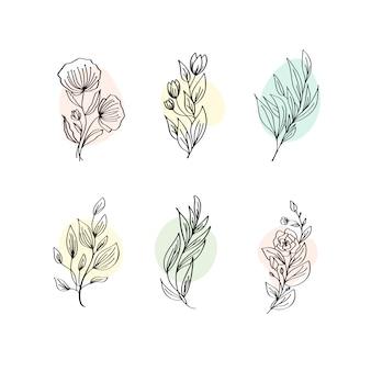 Blumendekorations-niederlassungs-blatt-betriebslinie anschlag-ikonen-piktogramm-symbol-satz-sammlung