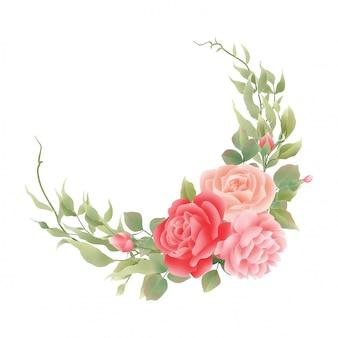 Blumendekorationsaquarellrose und blattartdekorationen