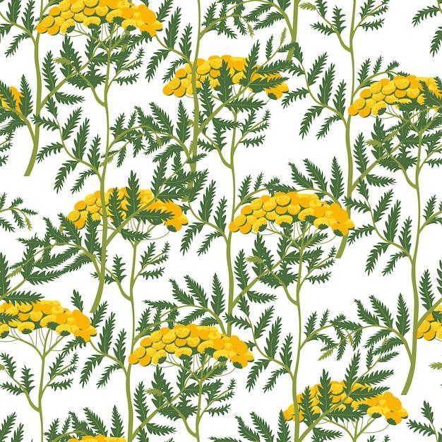 Blumendekoratives ornament mit blühen und blättern, stiel und blühen. blühen und blühen, blatt und laub. botanik dekor. nahtloses muster oder hintergrund, druck oder tapete, vektor