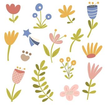 Blumendekorelemente auf lokalisiertem hintergrund. vektor-illustration.