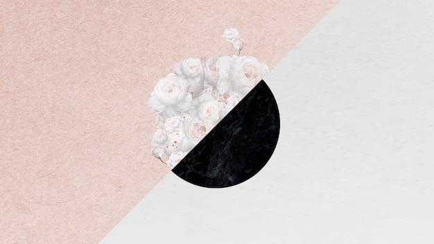 Blumendekorierter steinoberflächenrahmen