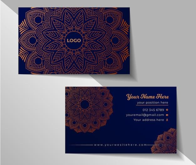 Blumendes mandala-hintergrund-sauberes luxus-visitenkarten-design