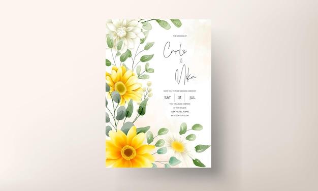 Blumendesign der schönen aquarellblumenhochzeitseinladungskarte