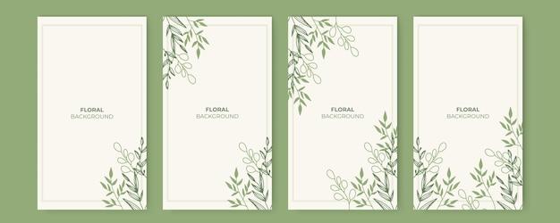 Blumendesign für social-media-geschichten-vorlagen mit blättern und wellen universelles kreatives organisches boho-design