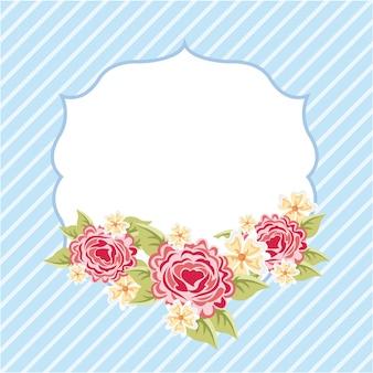 Blumendesign über blauer hintergrundvektorillustration