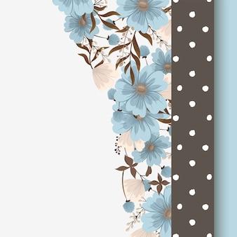 Blumendesignrand - hellblaue blumen