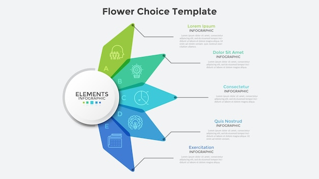 Blumendiagramm mit fünf bunten durchscheinenden blumenblättern. moderne infografik-design-vorlage. konzept von 5 funktionen des startprojekts. kreative vektorillustration für geschäftspräsentation, bericht.