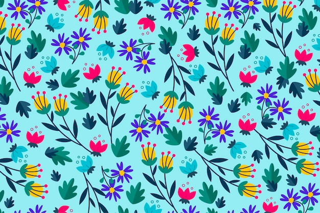 Blumendruck auf blauem hintergrund