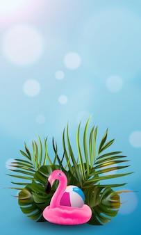 Blumendschungelpalme und flamingohintergrund.