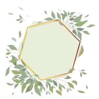 Blumeneinladung der eleganten hochzeit, mit einer goldenen geometrischen flamme