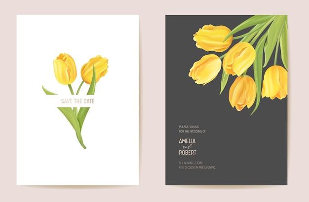 Blumeneinladung zur hochzeit. moderne tulpenblume save the date-set. vektor minimale frühlingskarte. realistischer vorlagenrahmen, laubabdeckung, sommerhintergrund, trendiges design, luxusbroschüre