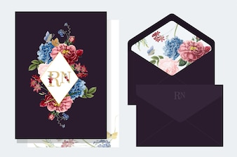 Blumeneinladungskarte-Modellillustration