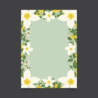 Blumeneinladungsschablone mit jasminblumen und zitronen