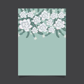 Blumeneinladungsschablone mit kaktus und saftigen blumen
